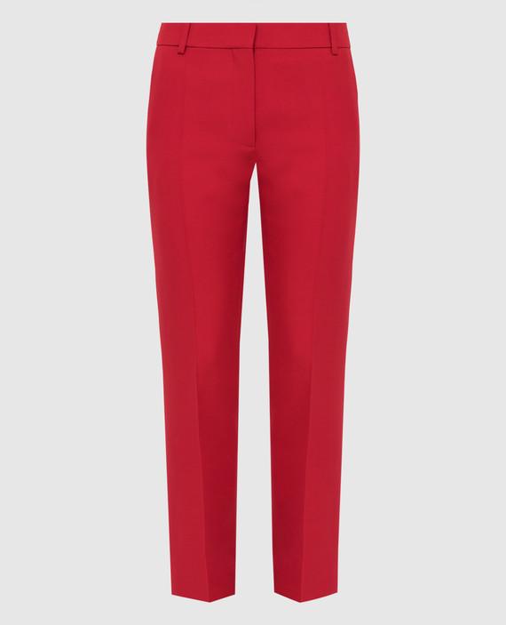 Красные брюки из шерсти и шелка