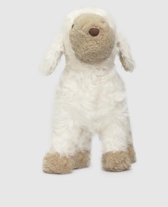 Детская белая игрушка из меха ягненка