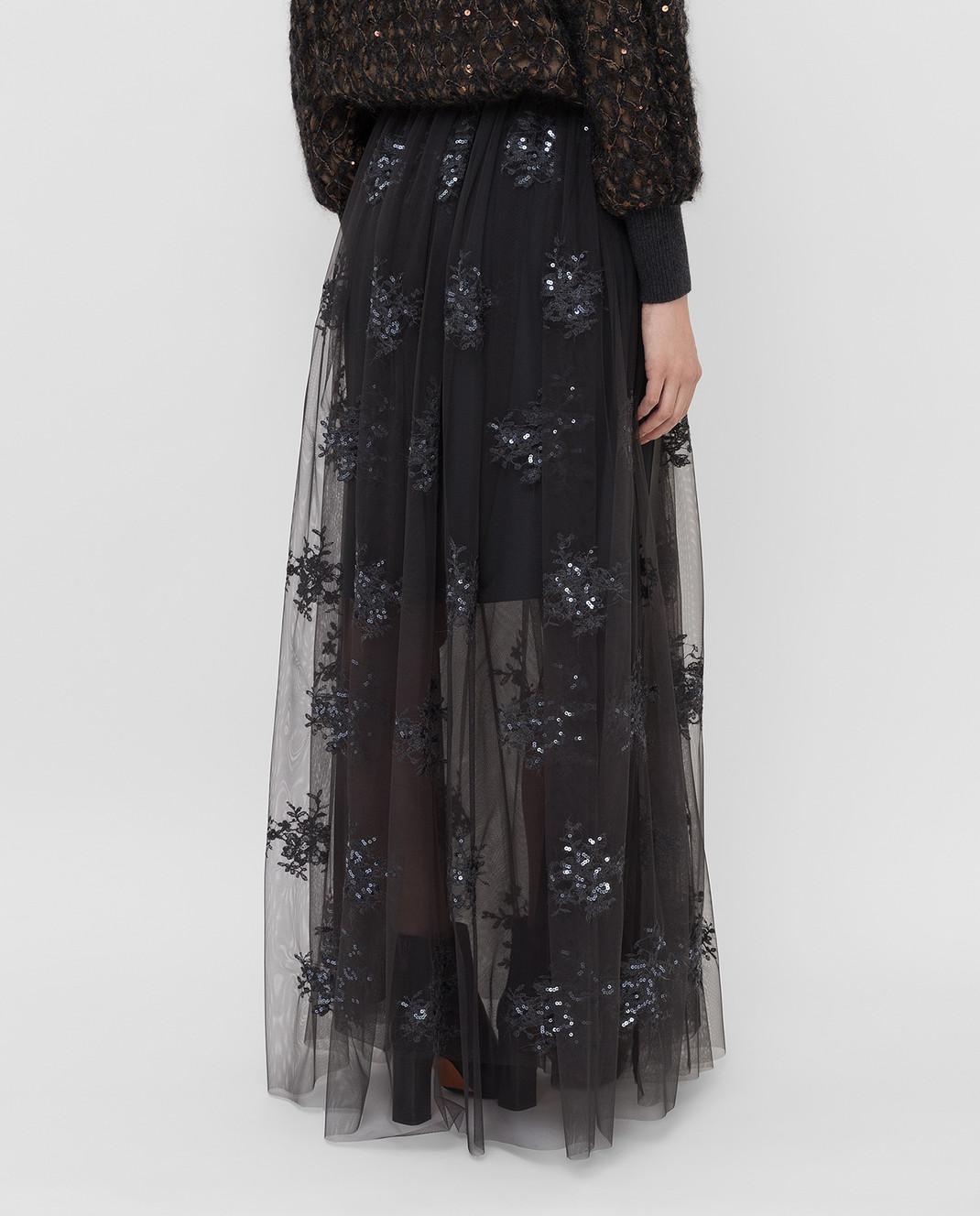 Brunello Cucinelli Темно-серая юбка MA960G2739 изображение 4