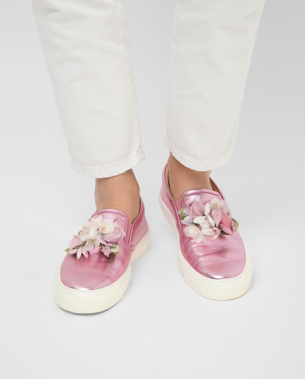 Gucci Розовые кожаные слипоны 414990 изображение 2