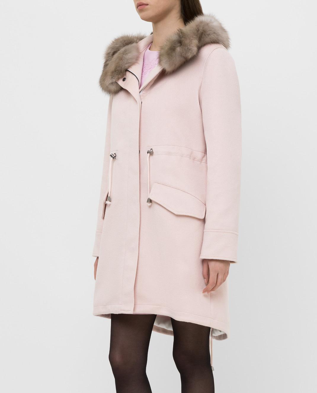 Real Furs House Светло-розовая парка из кашемира с мехом соболя изображение 3