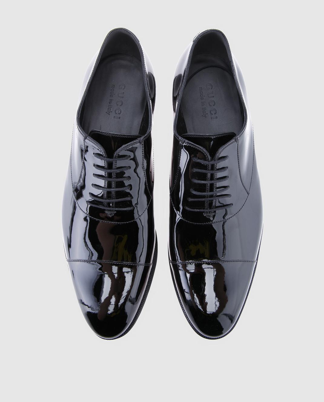 Gucci Черные кожаные оксфорды 457144BNCR0 изображение 4