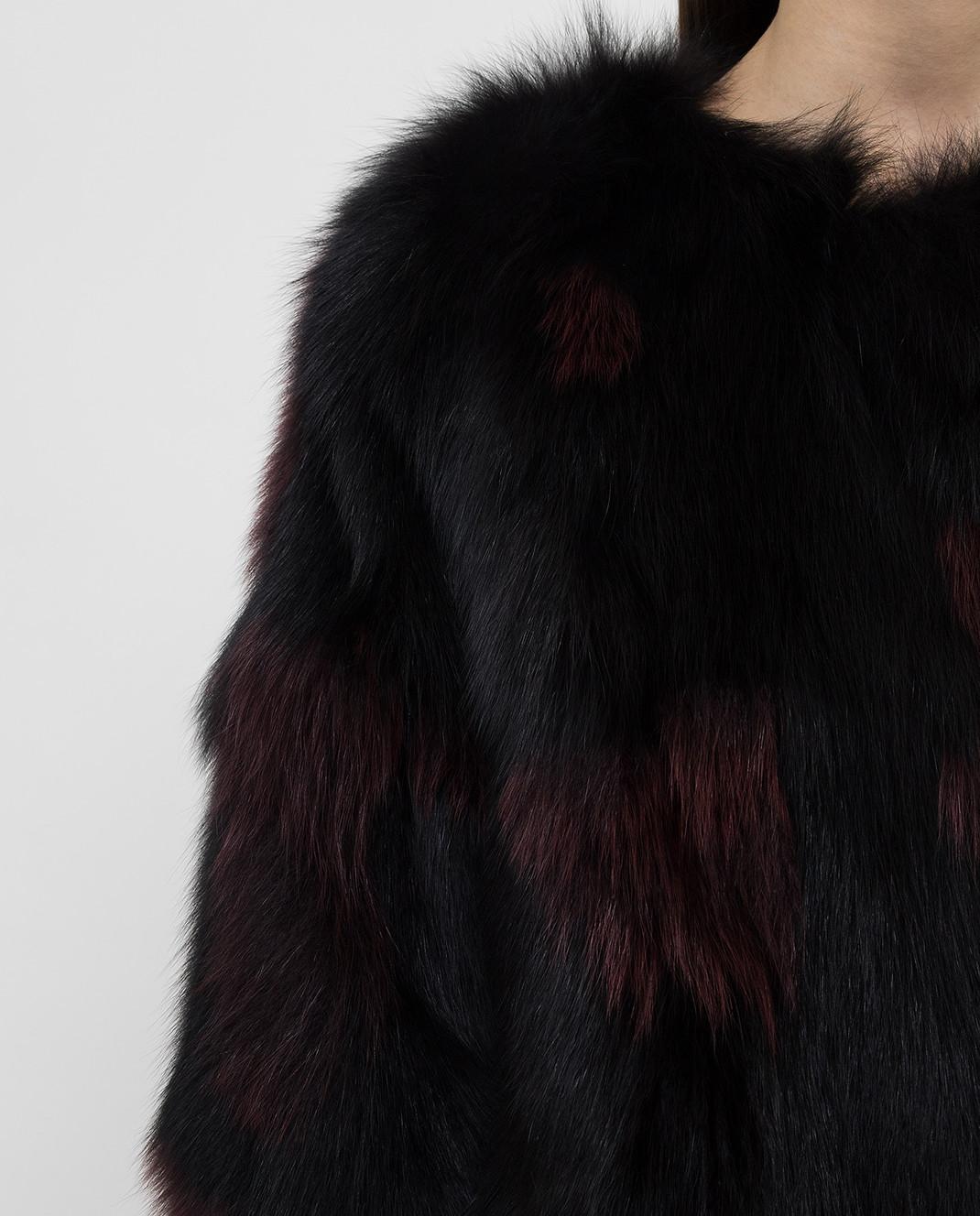Simonetta Ravizza Черная шуба из меха лисы SONX3 изображение 5