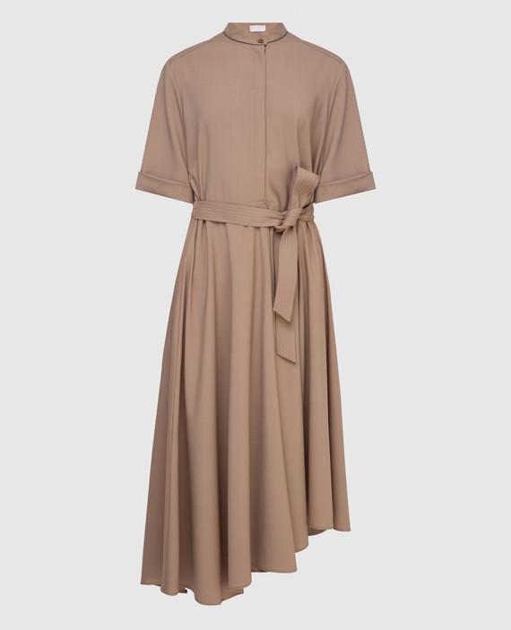 Бежевое платье из шерсти