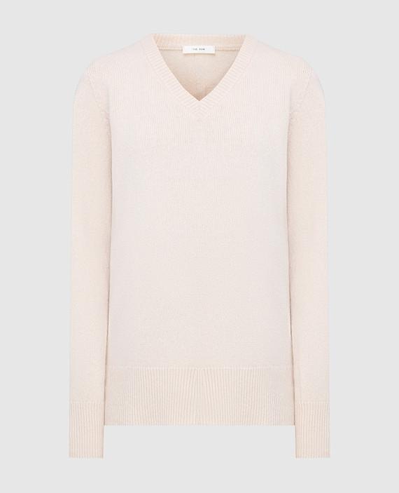 Пудровый пуловер из шерсти и кашемира