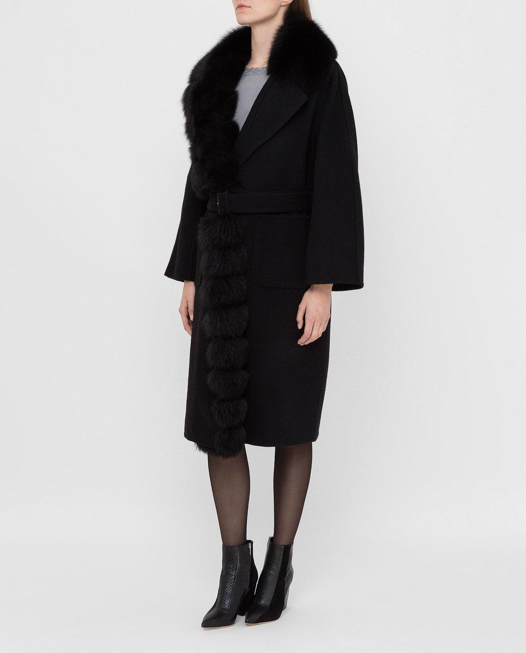 Ermanno Scervino Черное пальто из шерсти с мехом лисы изображение 3