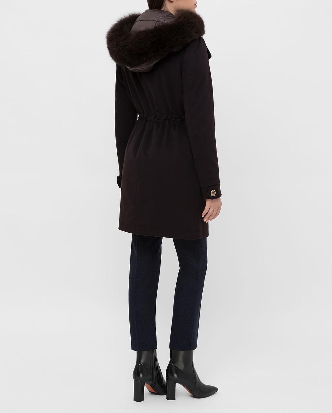 Heresis Темно-коричневое пальто из шерсти P1290VO изображение 4