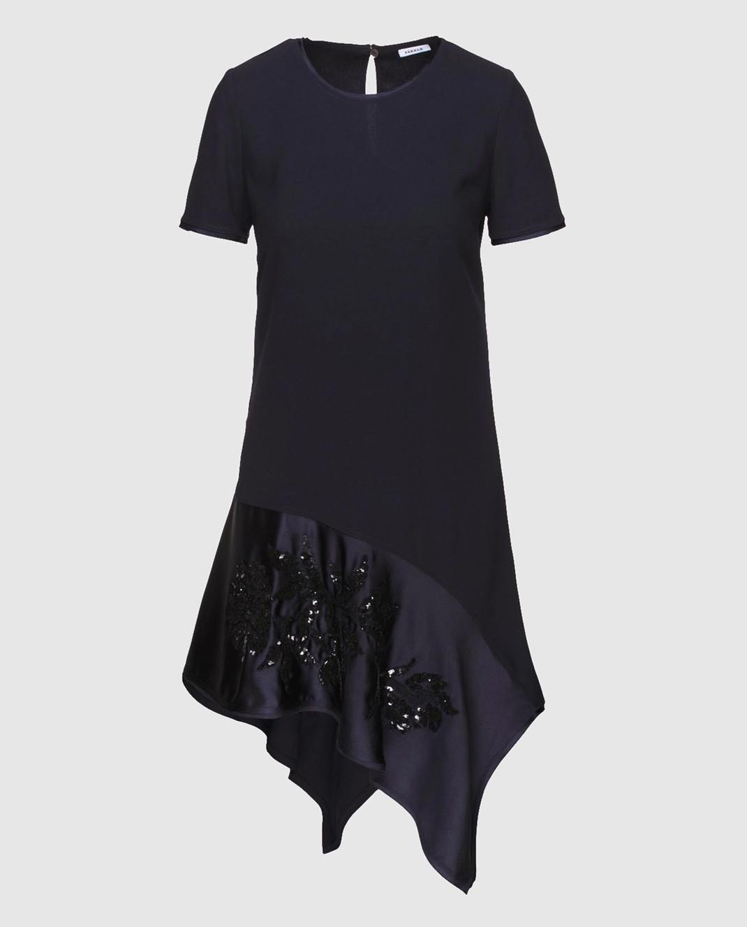 PAROSH Темно-синее платье с вышивкой пайетками D730224R