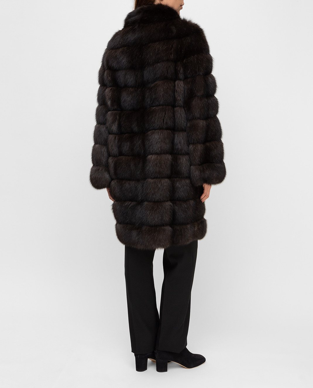 Real Furs House Темно-коричневая шуба из соболя SBR28622DARKSILV290 изображение 4