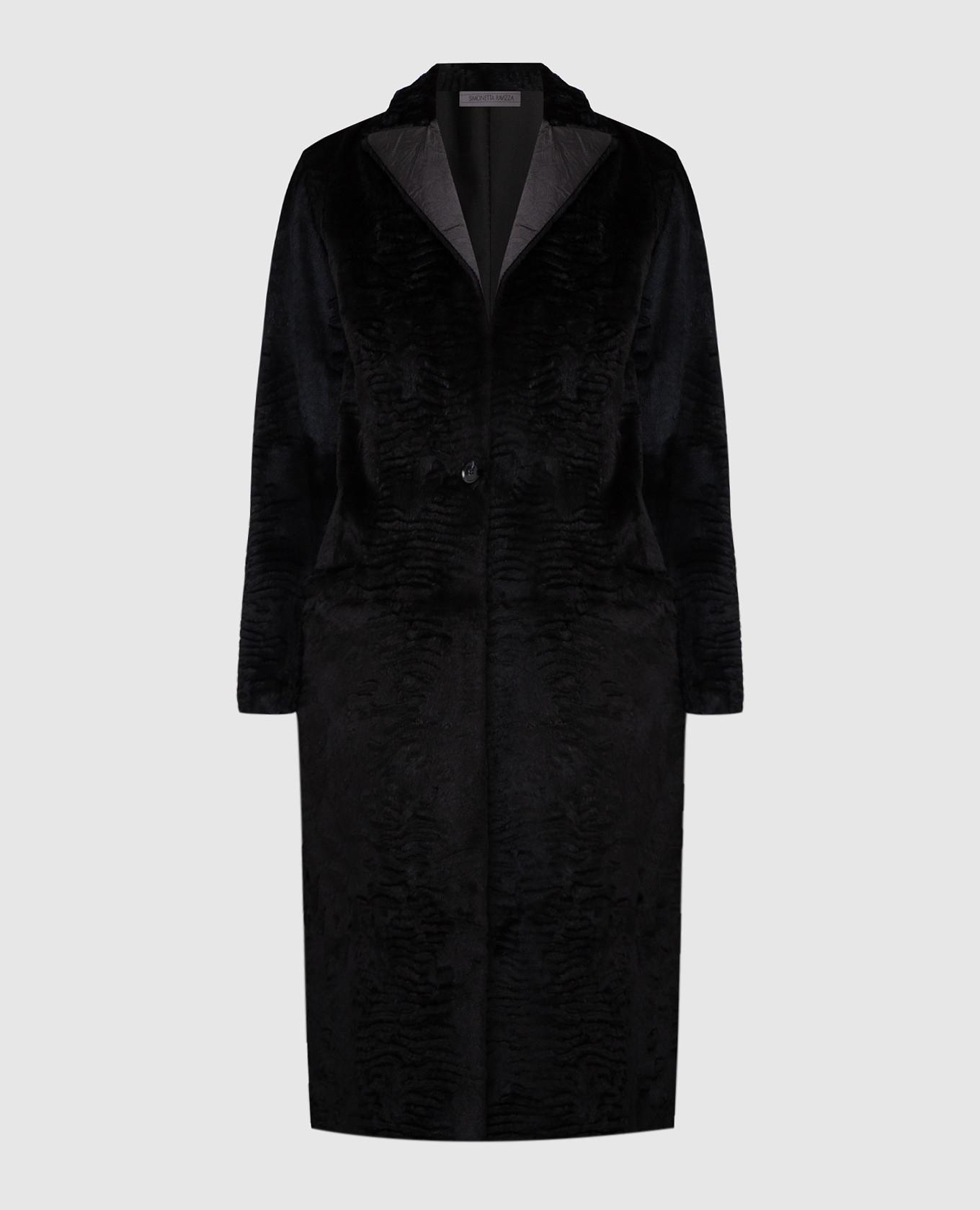 Черное пальто из кролика
