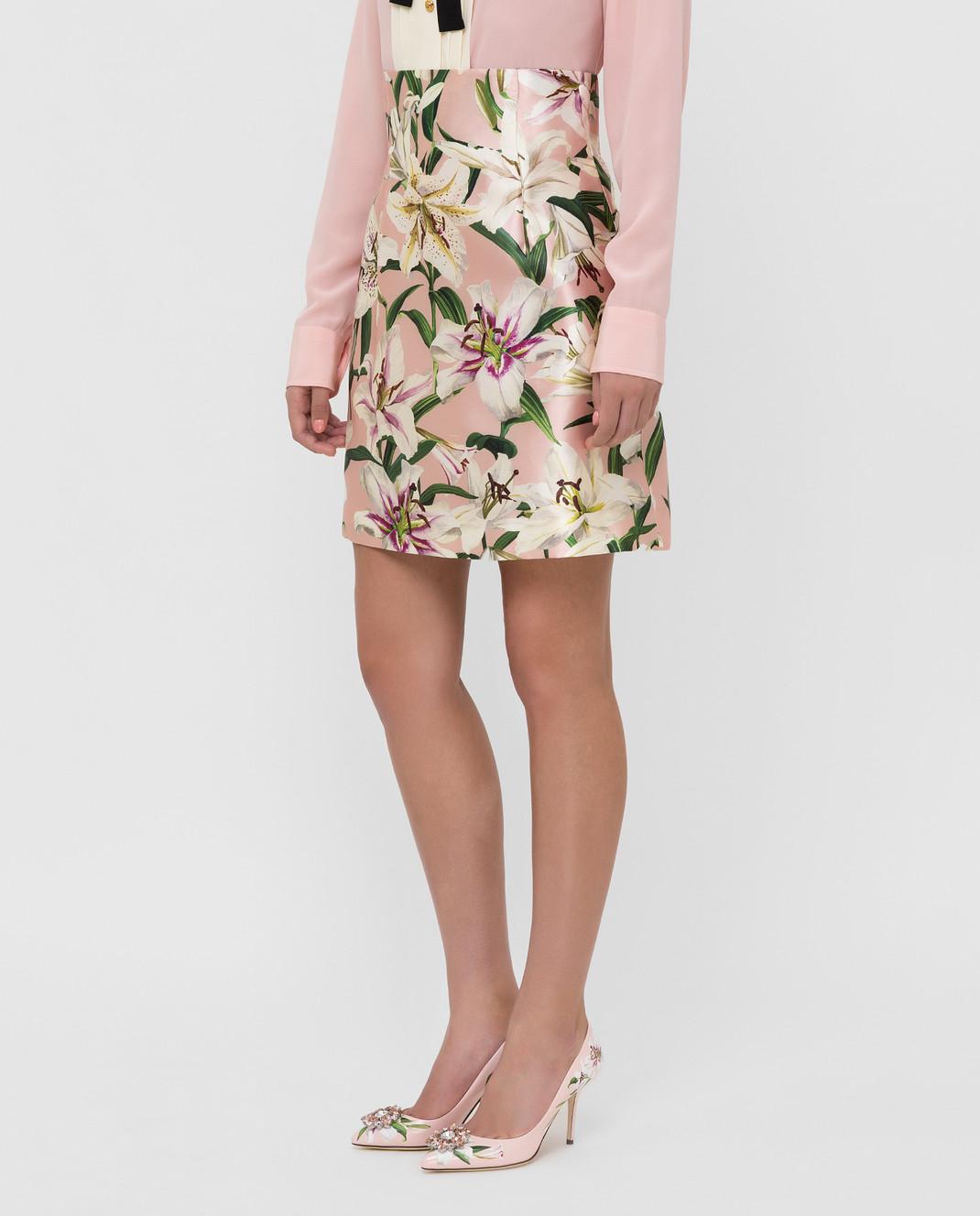 Dolce&Gabbana Розовая юбка из шелка изображение 3