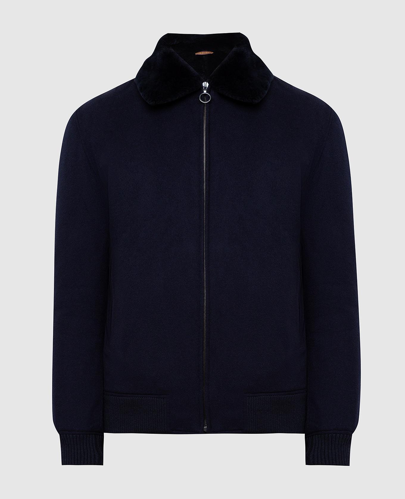 Темно-синяя куртка из кашемира