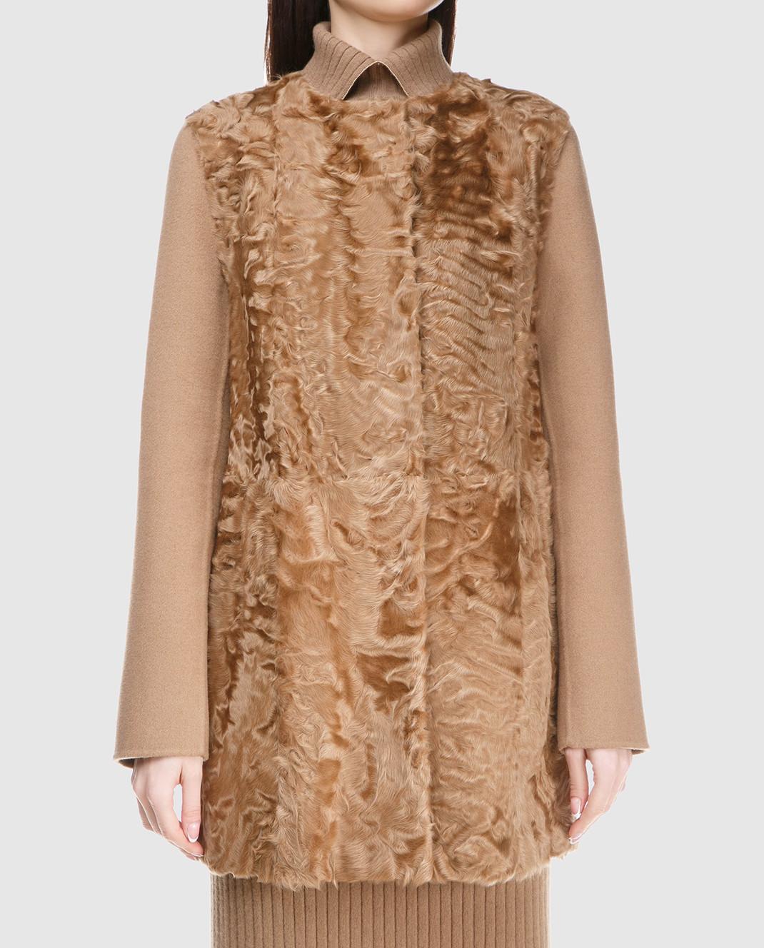 Yves Salomon Бежевое пальто из шерсти с деталями из меха ягненка 8WYM70580JNCA изображение 3