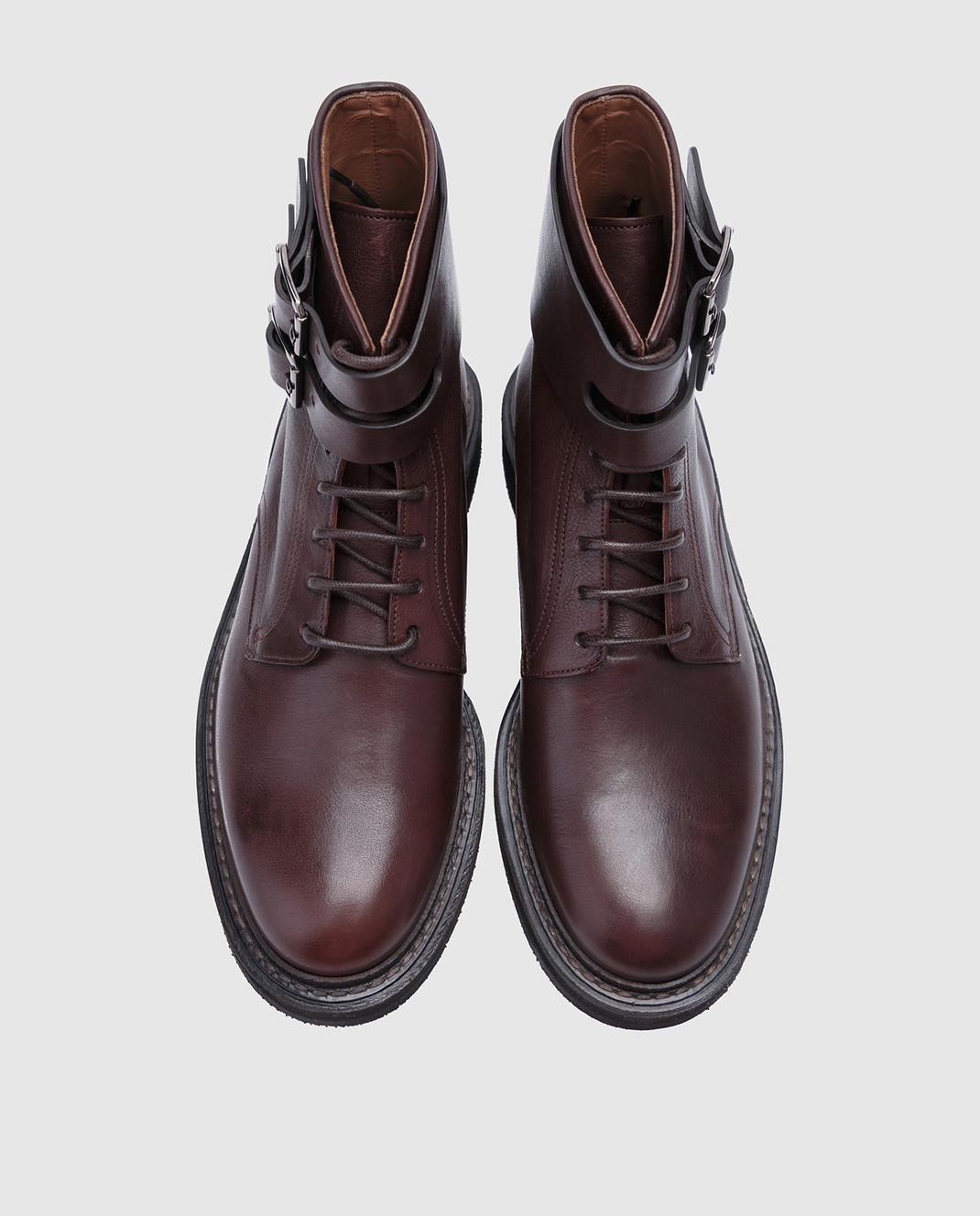 Brunello Cucinelli Темно-коричневые кожаные ботинки MZUSPFU174 изображение 4
