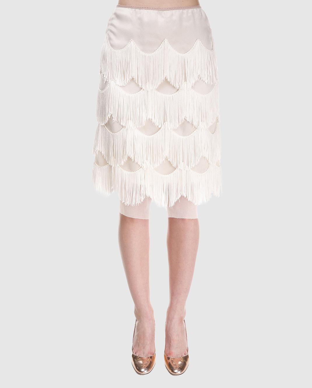 Marc Jacobs Бежевая юбка с бахромой изображение 3