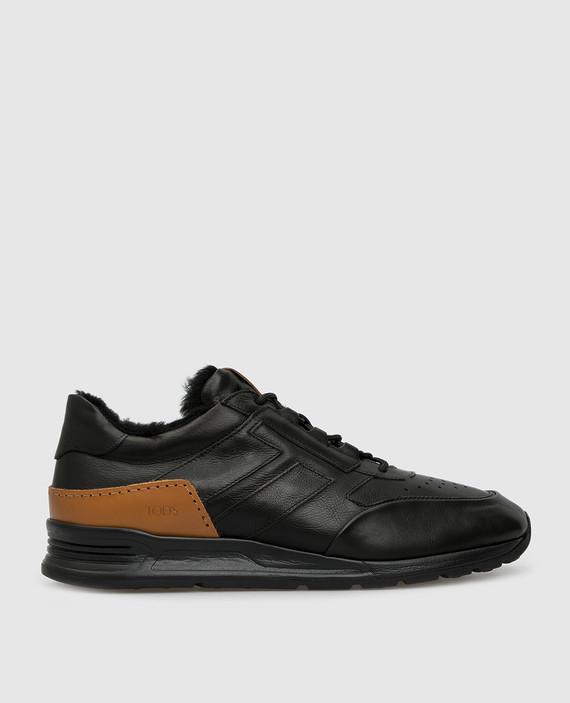 Черные кожаные кроссовки на меху