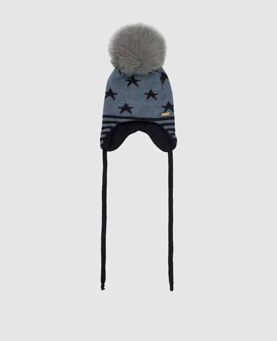 Детская синяя шапка из шерсти