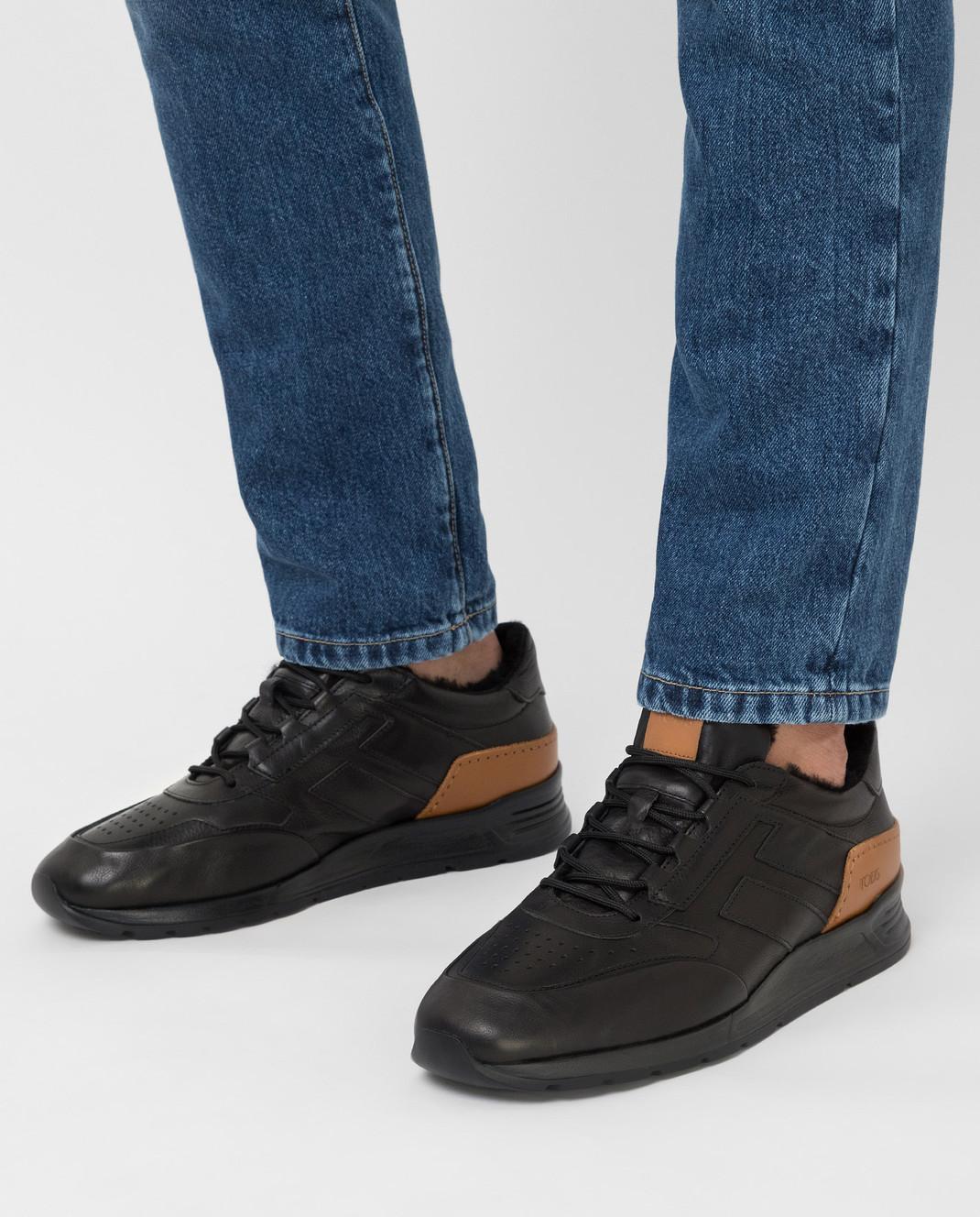 Tods Черные кожаные кроссовки на меху изображение 2