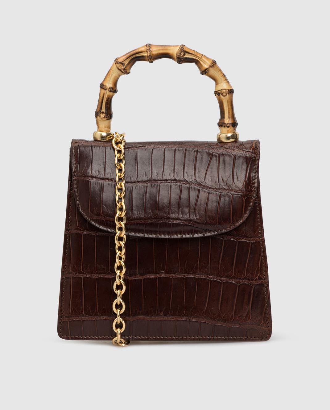 Bochicchio Коричневая сумка из кожи крокодила CROCOCLUTCH4