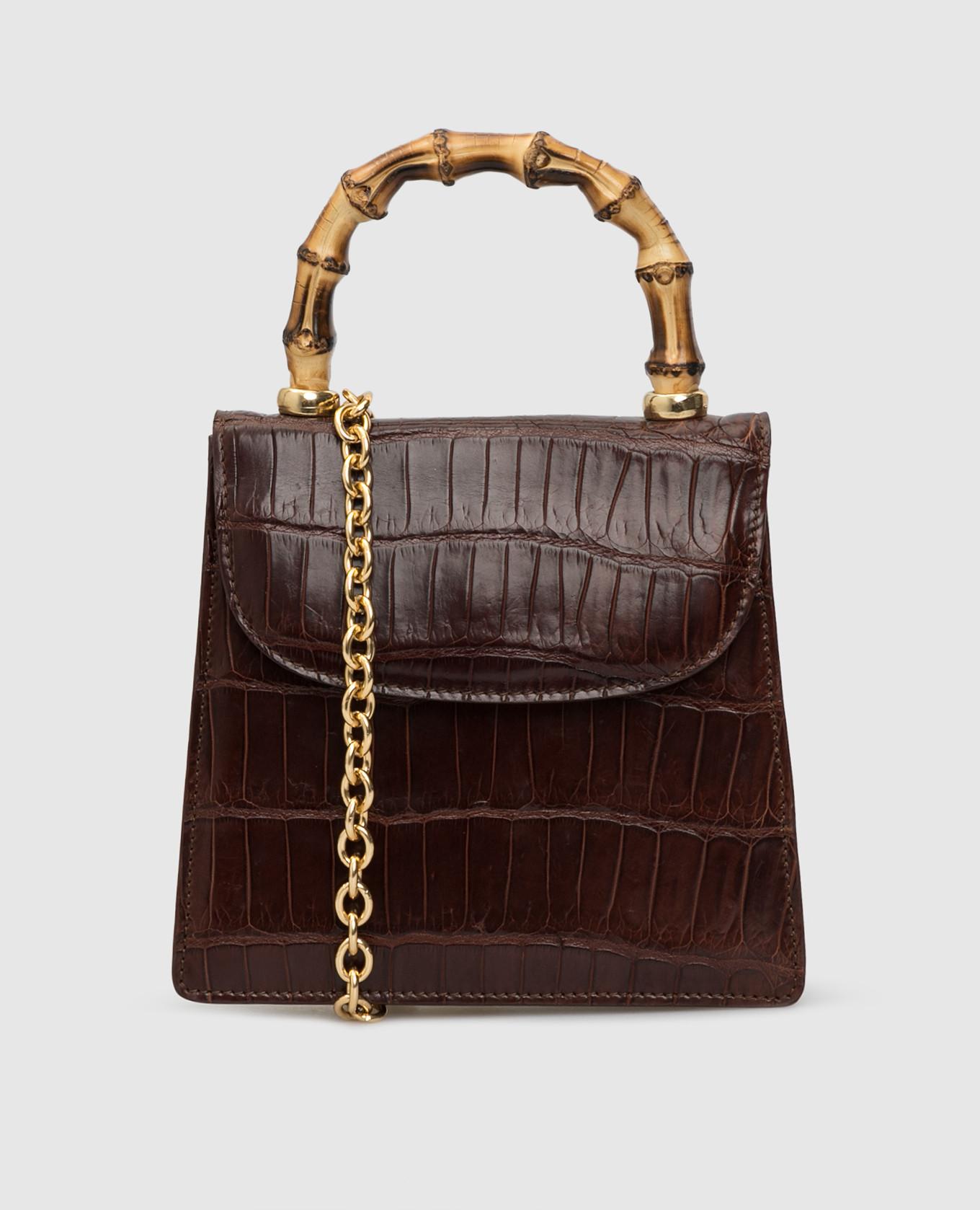 Коричневая сумка из кожи крокодила