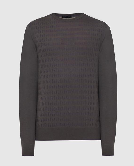 Темно-серый джемпер из кашемира и шелка
