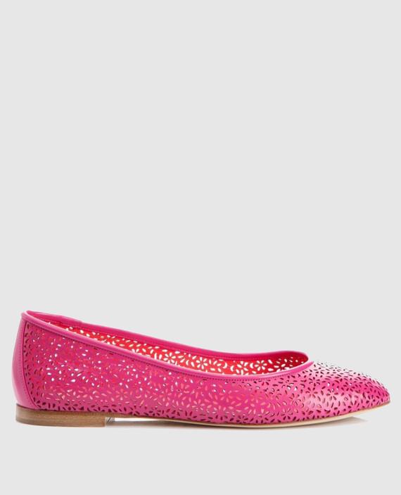 Розовые кожаные балетки GINESTRA
