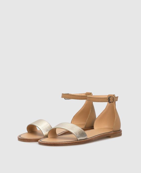 Детские золотистые кожаные сандалии hover