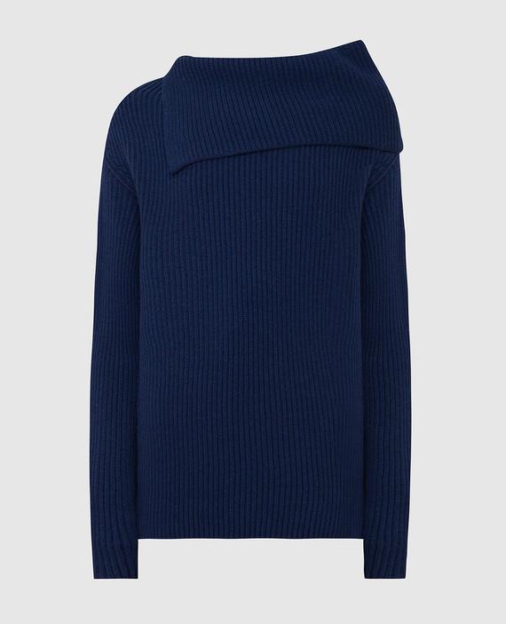 Темно-синий свитер из шерсти и кашемира