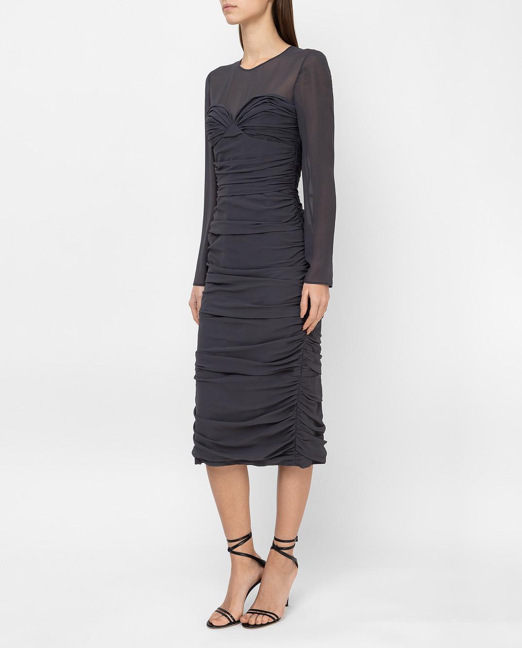 Max Mara Темно-серое платье из шелка ODER изображение 3