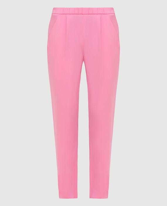 Розовые брюки из шелка