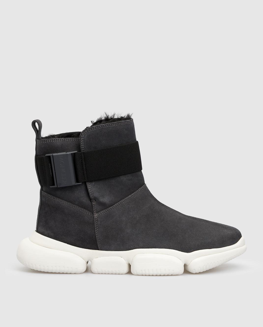Moncler Темно-серые замшевые ботинки