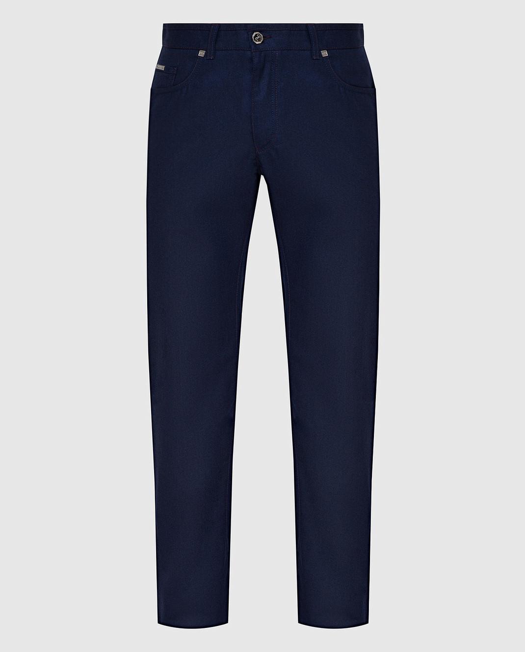 Castello d'Oro Темно-синие брюки из шерсти изображение 1