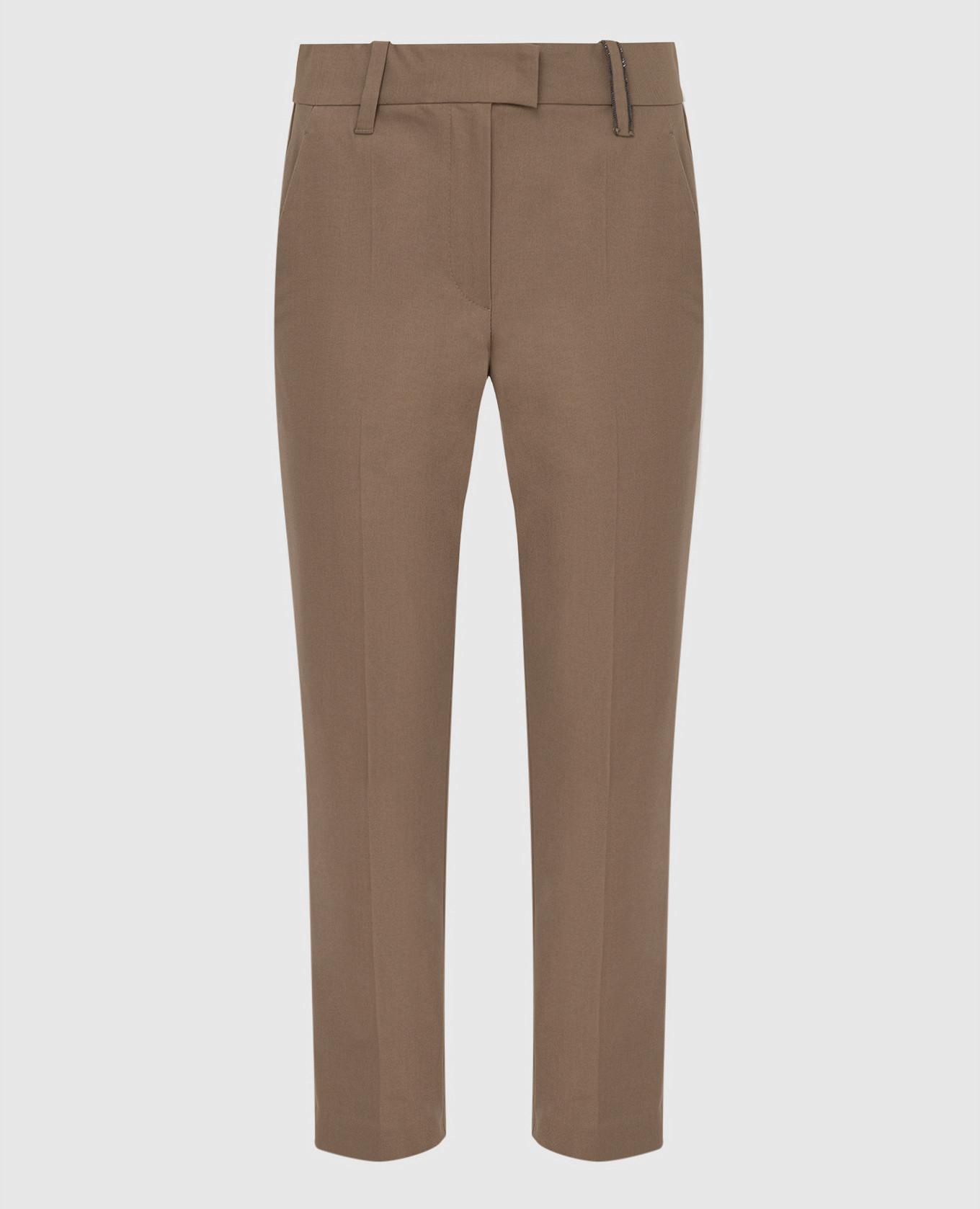 Бежевые брюки с цепочкой