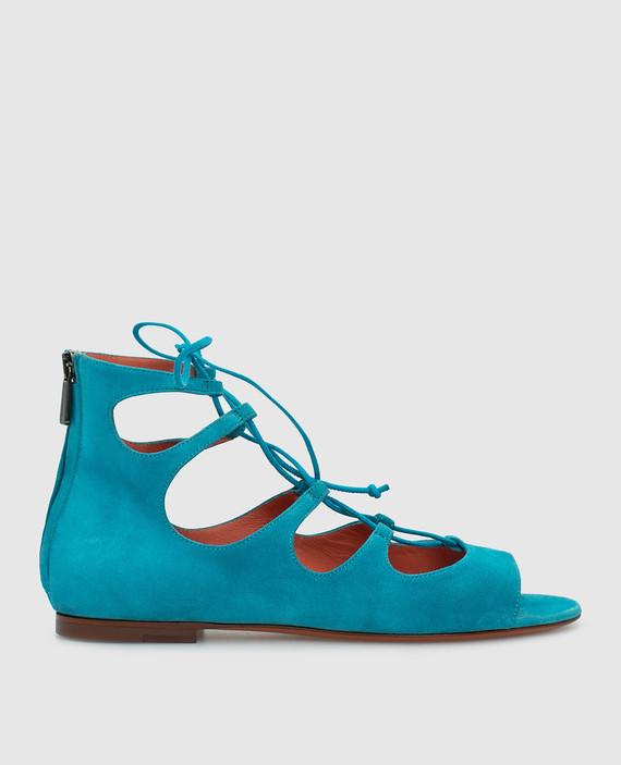 Синие замшевые сандалии