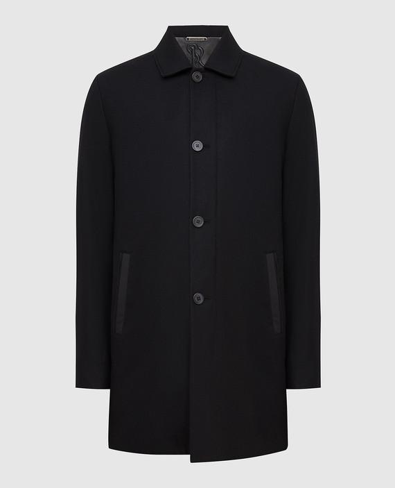 Черное пальто из кашемира