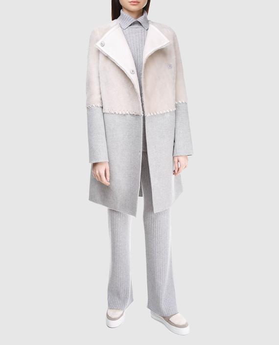 Серое пальто из шерсти и кашемира hover