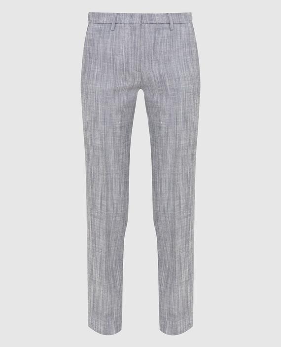 Серые брюки из шелка и льна