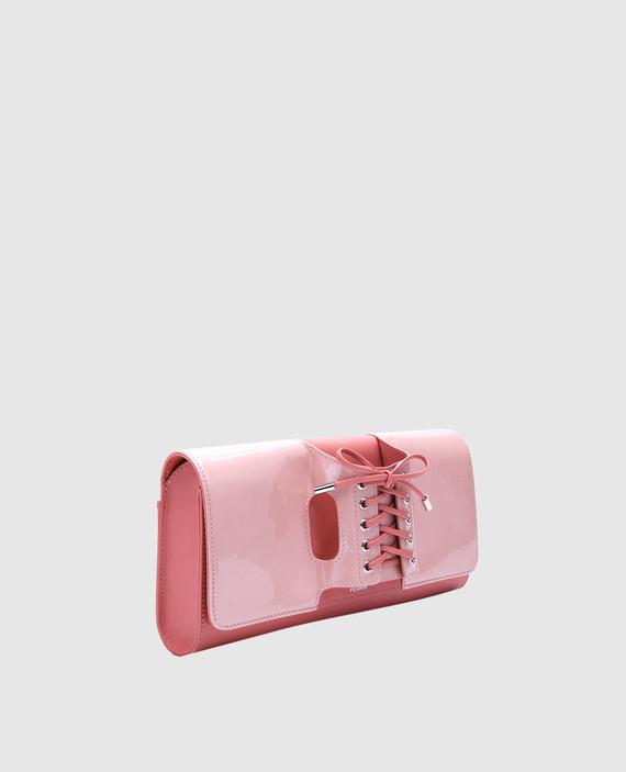 Розовый клатч из лакированной кожи Le corset hover