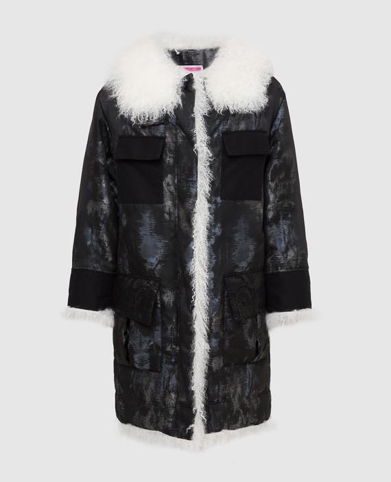 Черная куртка с мехом ламы