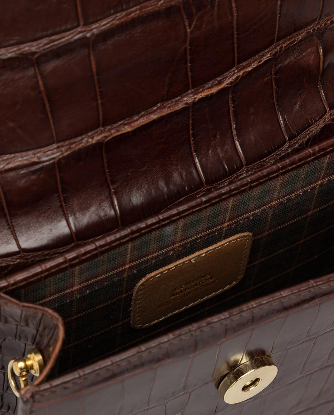Bochicchio Коричневая сумка из кожи крокодила CROCOCLUTCH4 изображение 4