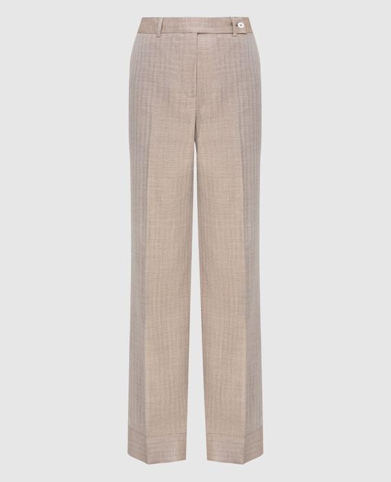 Бежевые брюки из шерсти, шелка и льна