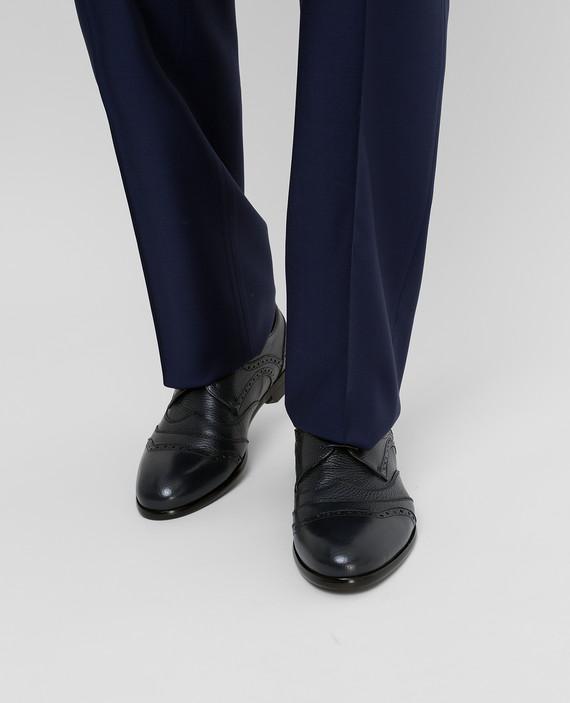 Темно-синие кожаные дерби hover