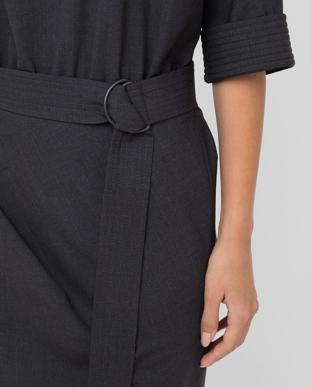 Brunello Cucinelli Темно-серое платье из шерсти изображение 5