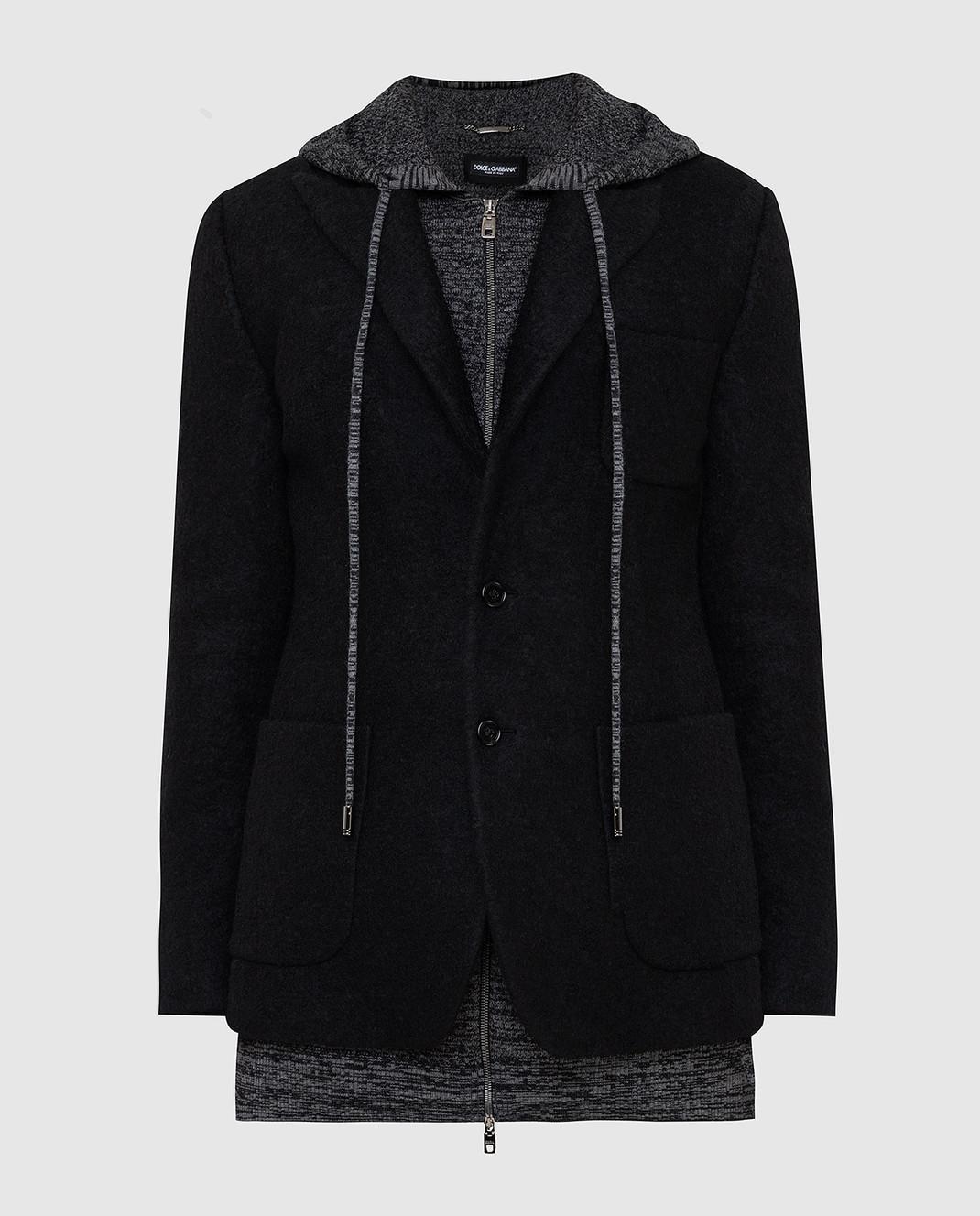 Dolce&Gabbana Черное пальто из шерсти изображение 1