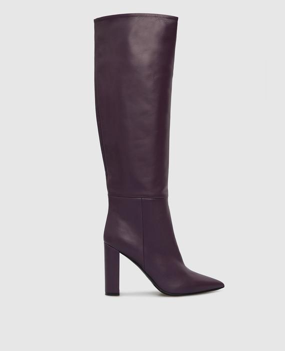 Фиолетовые кожаные сапоги