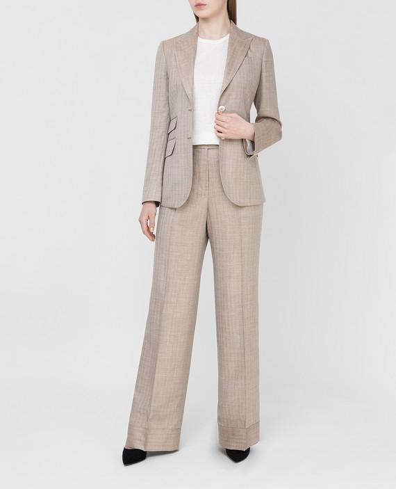Бежевые брюки из шерсти, шелка и льна hover