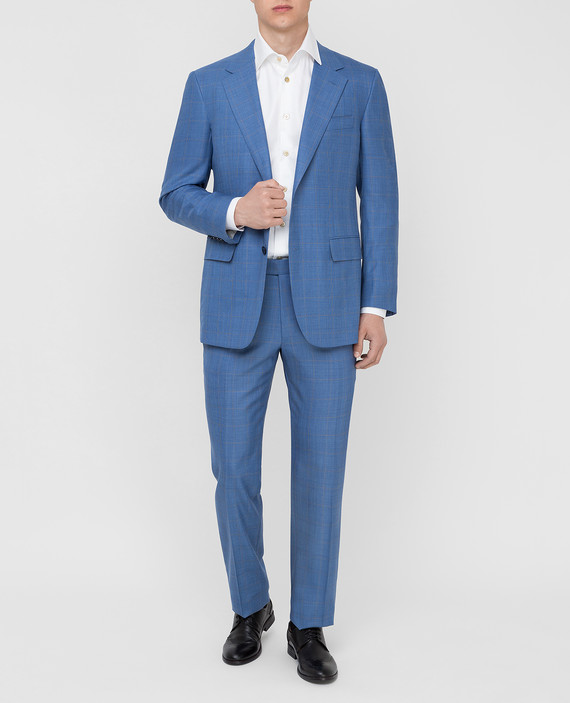 Голубой костюм из шерсти и кашемира hover