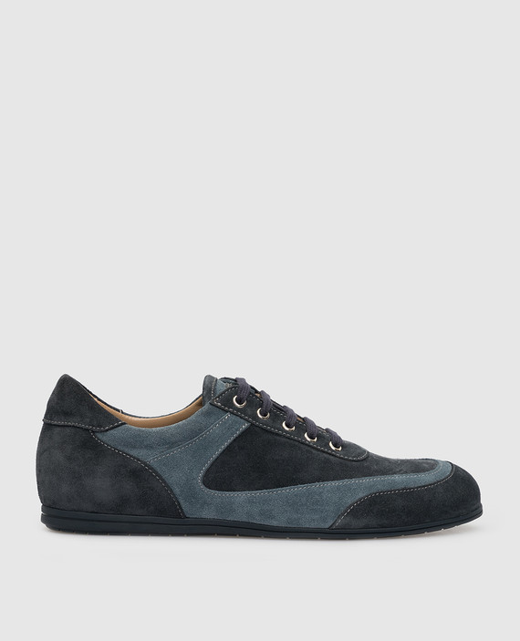 Темно-синие замшевые кроссовки