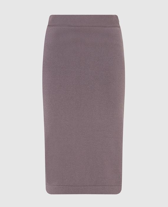 Темно-сиреневая юбка из кашемира