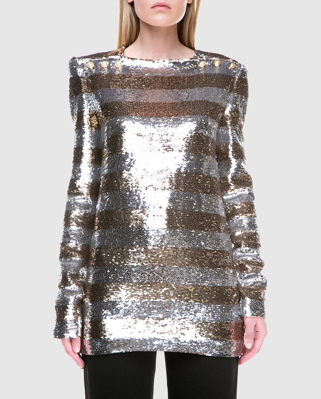 Balmain Серебристая блуза с пайетками 131513 изображение 3